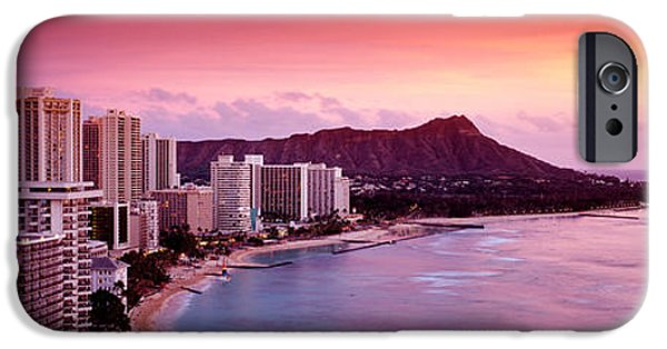 Grey Clouds Photographs iPhone Cases - Sunset Honolulu Oahu Hi Usa iPhone Case by Panoramic Images