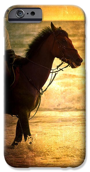 Horse iPhone Cases - Sunset Horse iPhone Case by Loriental Photography