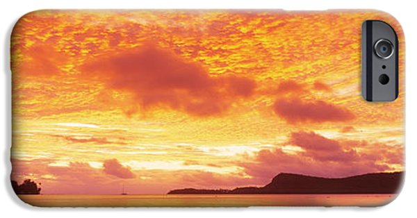 Fiery iPhone Cases - Sunset, Huahine Island, Tahiti iPhone Case by Panoramic Images