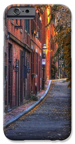 Massachusetts Autumn Scenes iPhone Cases - Sunset in Beacon Hill iPhone Case by Joann Vitali