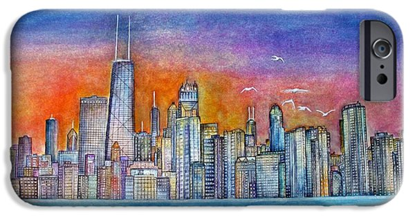 Willis Tower Paintings iPhone Cases - Sunset in Chi Town iPhone Case by Janet Immordino