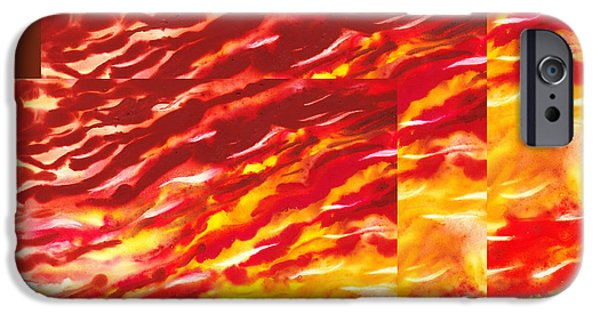 Abstractions iPhone Cases - Sunset In Desert Abstract Collage  iPhone Case by Irina Sztukowski