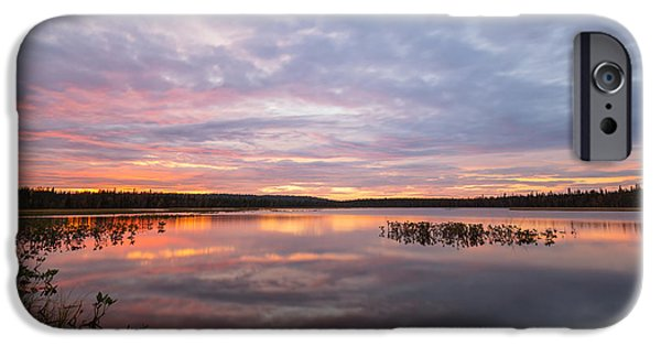 Lappi iPhone Cases - Sunset in Finnish Lapland iPhone Case by Mikko Lonnberg