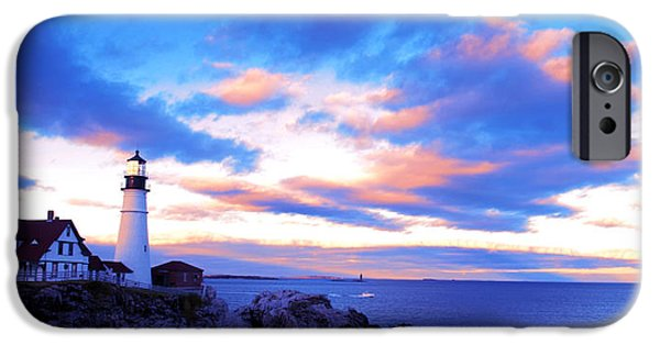 North Sea Drawings iPhone Cases - Sunset in Fork Williams Lighthouse Park Portland Maine State iPhone Case by Paul Ge