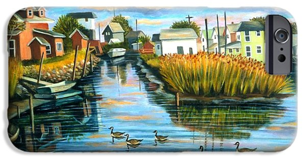 Canadian Geese Paintings iPhone Cases - Sunset In Hamilton Beach. iPhone Case by Madeline  Lovallo