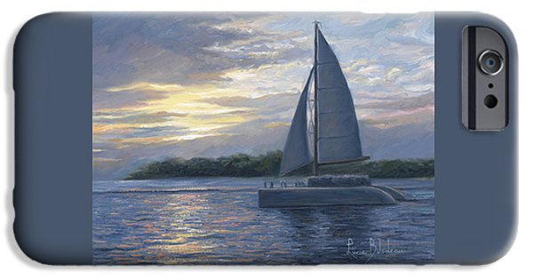 Sailboat Paintings iPhone Cases - Sunset In Key West iPhone Case by Lucie Bilodeau