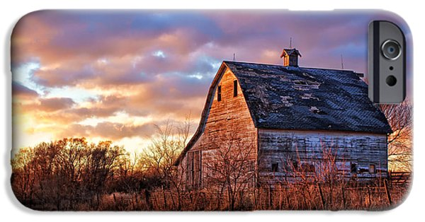 Nebraska iPhone Cases - Sunset in the Country iPhone Case by Nikolyn McDonald