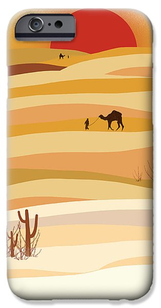Sand Dunes iPhone Cases - Sunset in the desert iPhone Case by Neelanjana  Bandyopadhyay