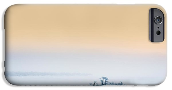 Wintertime iPhone Cases - Sunset In The Frozen Landscape, Cold iPhone Case by Panoramic Images