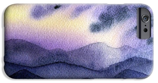 Sun Rays Paintings iPhone Cases - Sunset In The Mountains iPhone Case by Irina Sztukowski