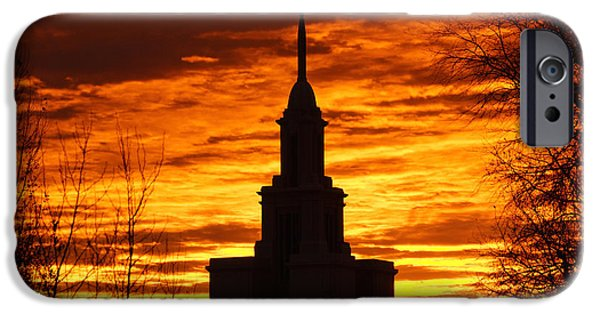 Utah iPhone Cases - Sunset in the Payson Temple iPhone Case by Gloria Pasko
