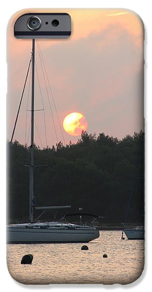 Sunset in the port iPhone Case by Eva Csilla Horvath