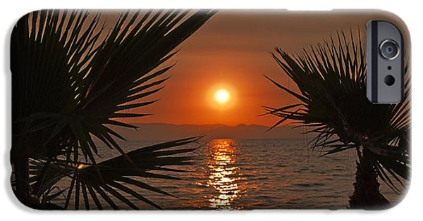 Coast Pyrography iPhone Cases - Sunset iPhone Case by Jelena Jovanovic