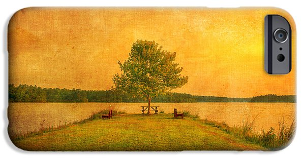 Artography iPhone Cases - Sunset Lake and Benches iPhone Case by Gregory W Leary
