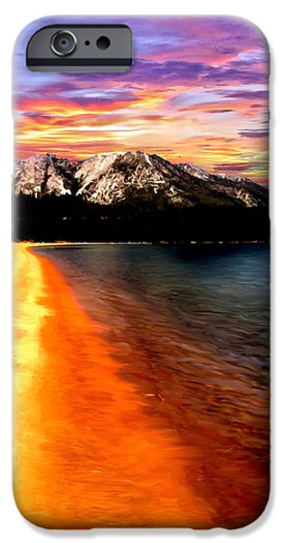 Art By God iPhone Cases - Sunset Lake Tahoe Painting iPhone Case by  Bob and Nadine Johnston