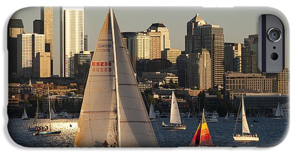 Local Attraction iPhone Cases - Sunset Lake Union Sailing Race iPhone Case by Jim Corwin