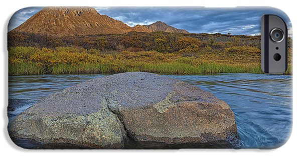 Blackstone River iPhone Cases - Sunset Light Hitting Angelcomb Peak And iPhone Case by Robert Postma