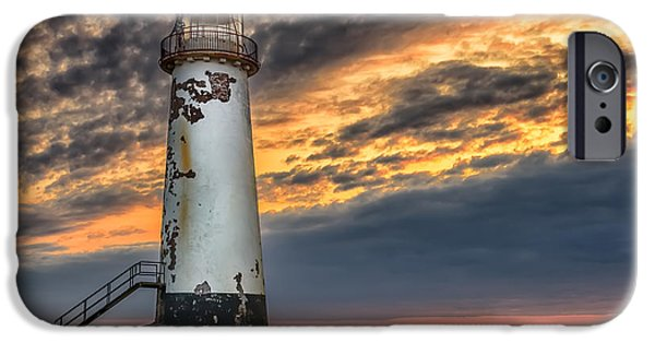 Coastline Digital Art iPhone Cases - Sunset Lighthouse iPhone Case by Adrian Evans