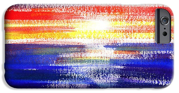 Ocean Sunset iPhone Cases - Sunset Lines Abstract iPhone Case by Irina Sztukowski