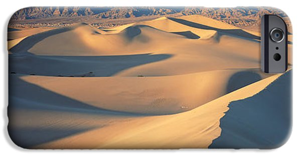 Sand Dunes iPhone Cases - Sunset Mesquite Flat Dunes Death Valley iPhone Case by Panoramic Images
