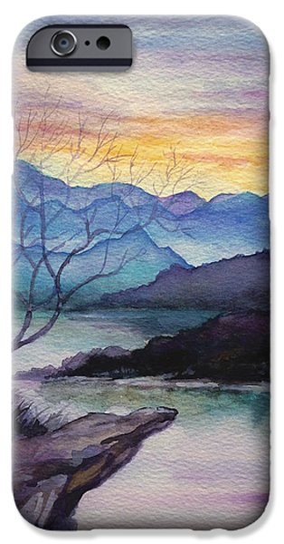 Beach Landscape Drawings iPhone Cases - Sunset Montains iPhone Case by Alban Dizdari