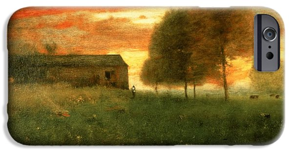 Rural iPhone Cases - Sunset, Montclair, 1892 iPhone Case by George Snr. Inness