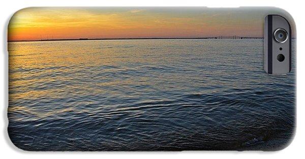 Chesapeake Bay iPhone Cases - Sunset near Chesapeake Bay Bridge iPhone Case by Marianna Mills