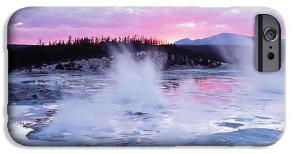 Yellowstone National Park iPhone Cases - Sunset, Norris Geyser Basin, Wyoming iPhone Case by Panoramic Images