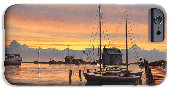 Sailboat Paintings iPhone Cases - Sunset-North Dock At Pelee Island   iPhone Case by Paul Krapf