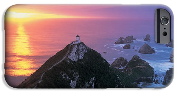 Lighthouse Sea iPhone Cases - Sunset, Nugget Point Lighthouse, South iPhone Case by Panoramic Images
