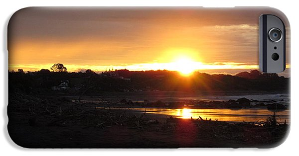 Sun iPhone Cases - Sunset Oakura Beach 1 iPhone Case by Ingrid Van Amsterdam