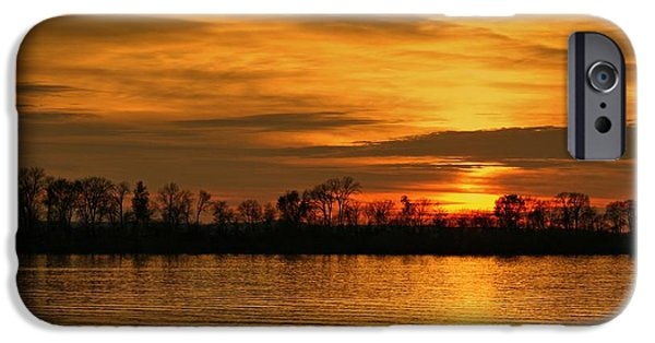 Indiana Art iPhone Cases - Sunset - Ohio River iPhone Case by Sandy Keeton