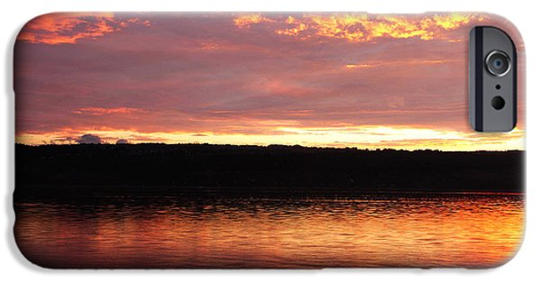 Nature Center Pond iPhone Cases - Sunset On Cayuga Lake Cornell Sailing Center Ithaca New York II iPhone Case by Paul Ge