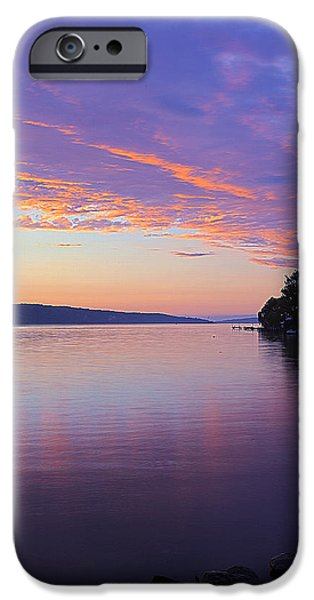 Nature Center Pond iPhone Cases - Sunset On Cayuga Lake Cornell Sailing Center Ithaca New York III iPhone Case by Paul Ge