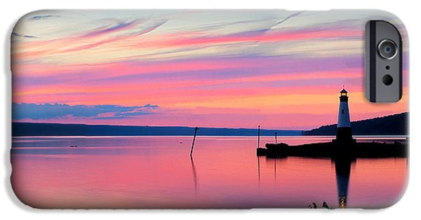Tree Art Print iPhone Cases - Sunset On Cayuga Lake Ithaca New York iPhone Case by Paul Ge