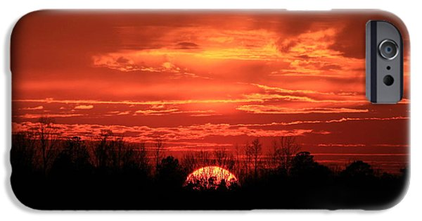 Pastureland iPhone Cases - Sunset On Fire  iPhone Case by Reid Callaway