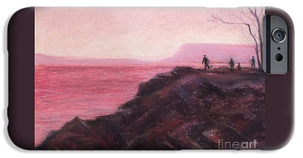 Hudson River Pastels iPhone Cases - Sunset on Fishing Day iPhone Case by Laura Sullivan