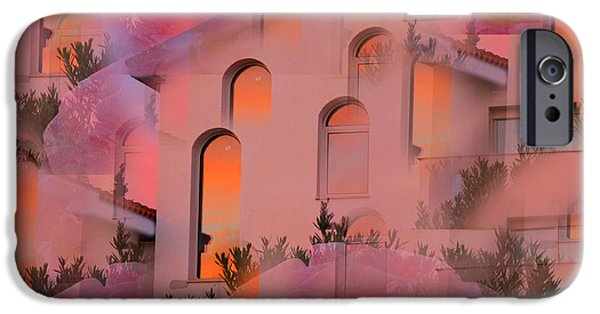 Planet Fantastic iPhone Cases - Sunset on Houses iPhone Case by Augusta Stylianou