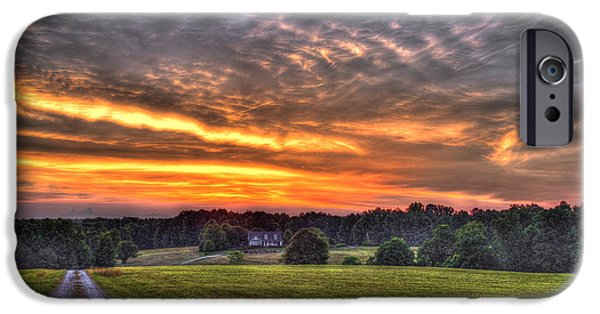 Hayfield iPhone Cases - Take Me Home Sunset on Lick Skillet Road  iPhone Case by Reid Callaway