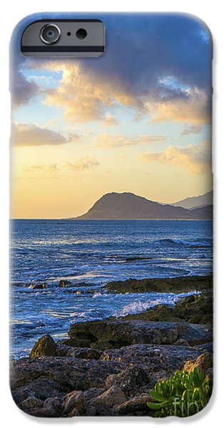 Ocean Sunset iPhone Cases - Sunset on Oahu Hawaii iPhone Case by Diane Diederich