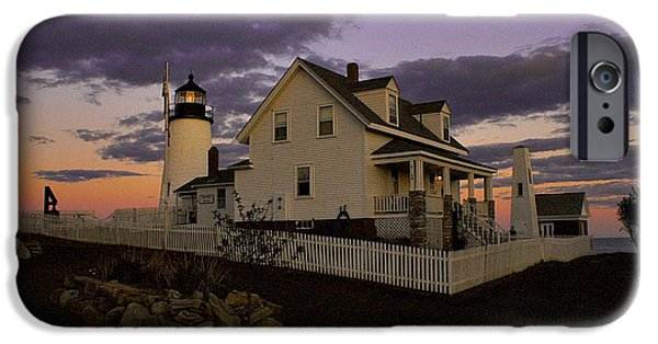 Pemaquid Lighthouse iPhone Cases - Sunset on Pemaquid Lighthouse iPhone Case by Sean Cupp