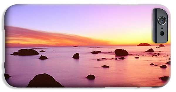 Ocean Sunset iPhone Cases - Sunset On Rocky Pacific Shoreline iPhone Case by Panoramic Images