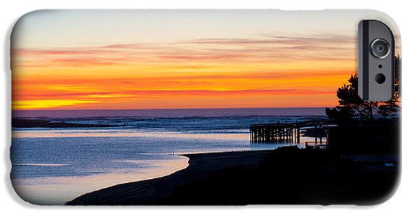Ocean Sunset iPhone Cases - Sunset On Siletz Bay On The Oregon Coast iPhone Case by William H. Mullins