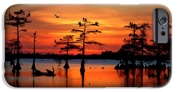 Islamorada iPhone Cases - Sunset on the Bayou iPhone Case by Jimmy Nelson