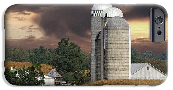 Business Photographs iPhone Cases - Sunset On The Farm iPhone Case by David Dehner