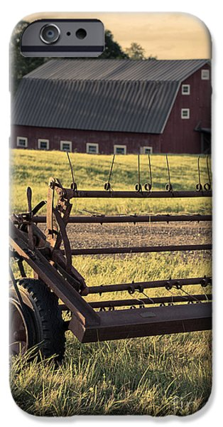 Agricultural iPhone Cases - Sunset on the farm iPhone Case by Edward Fielding