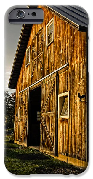 Horse Stable iPhone Cases - Sunset on the Horse Barn iPhone Case by Edward Fielding