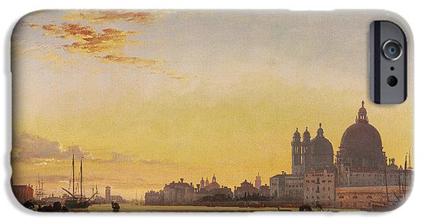 Sailboats In Harbor iPhone Cases - Sunset on the Lagoon of Venice iPhone Case by Edward William Cooke