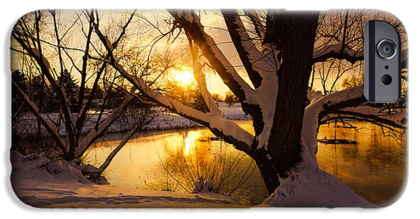 Snow iPhone Cases - Sunset on the Lake iPhone Case by Gloria Pasko