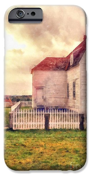 New England Village iPhone Cases - Sunset on the old farm house iPhone Case by Edward Fielding